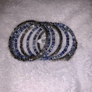 NWT Blue and Silver Beaded Wrap Bracelet
